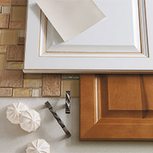 Homecrest cabinet doors in opaque color and medium stain.