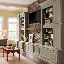 Gray Lawry cabinets in a living room