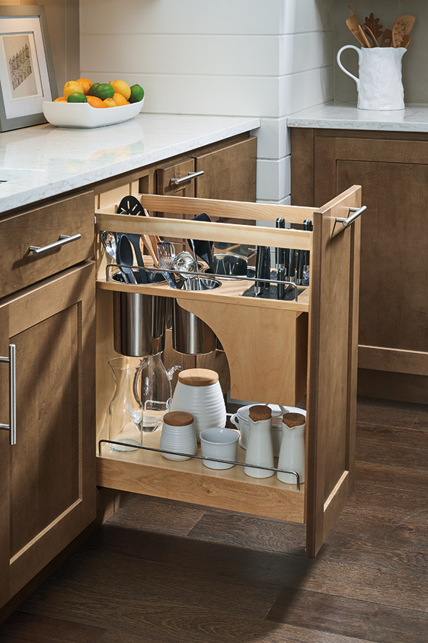 Base Utensil Pantry Pullout Cabinet with Knife Block