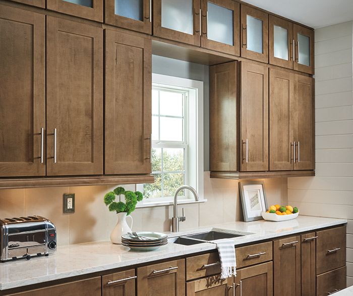 Transitional kitchen design with Dover cabinets in Maple Karoo finish