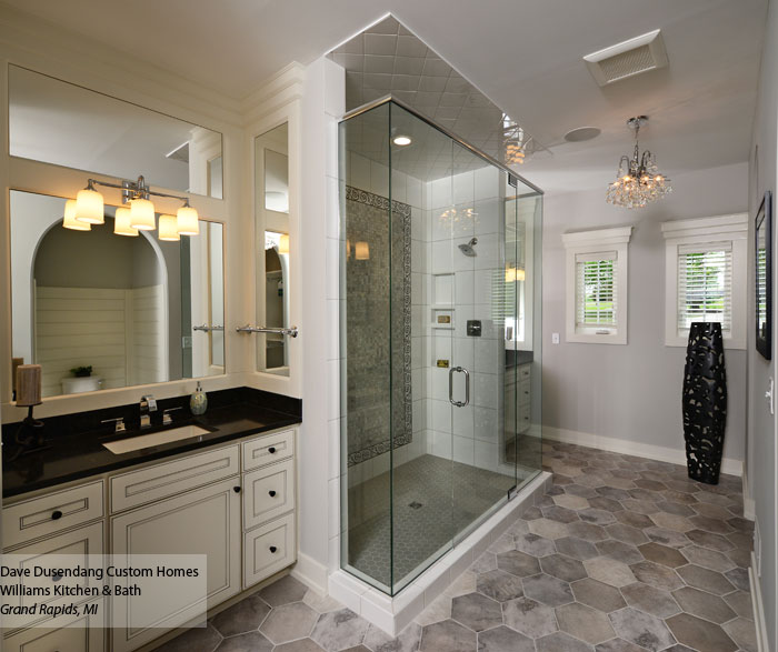 White bathroom vanities with glazing