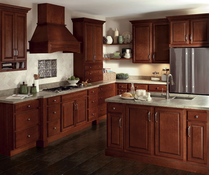 Cinnamon cabinet finish on cherry homecrest cabinetry for All american kitchen cabinets