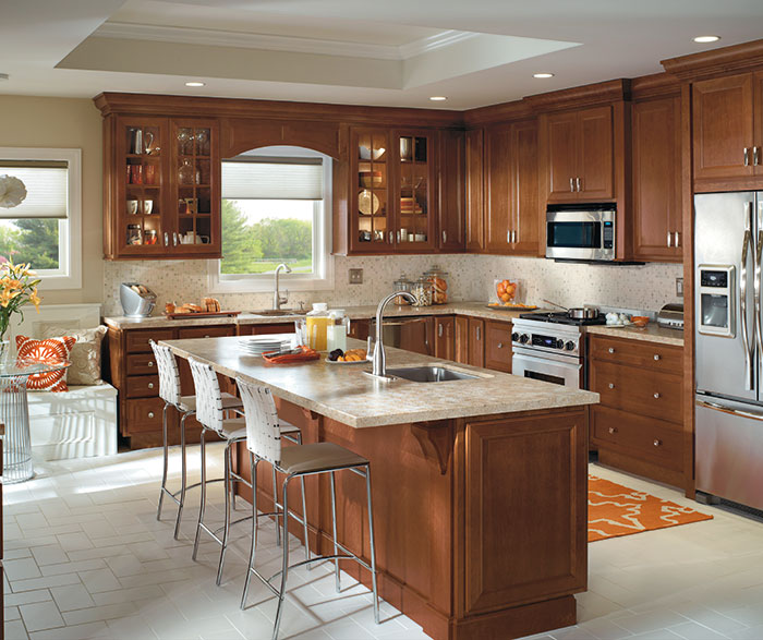 Traditional Kitchen with Cherry Cabinets