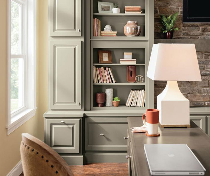 Casual office cabinets in Lawry Maple Anchor and Aloe with Rye glaze