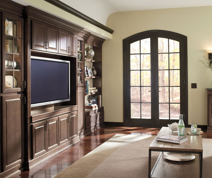 Ogilby living room storage cabinets in Maple Buckboard