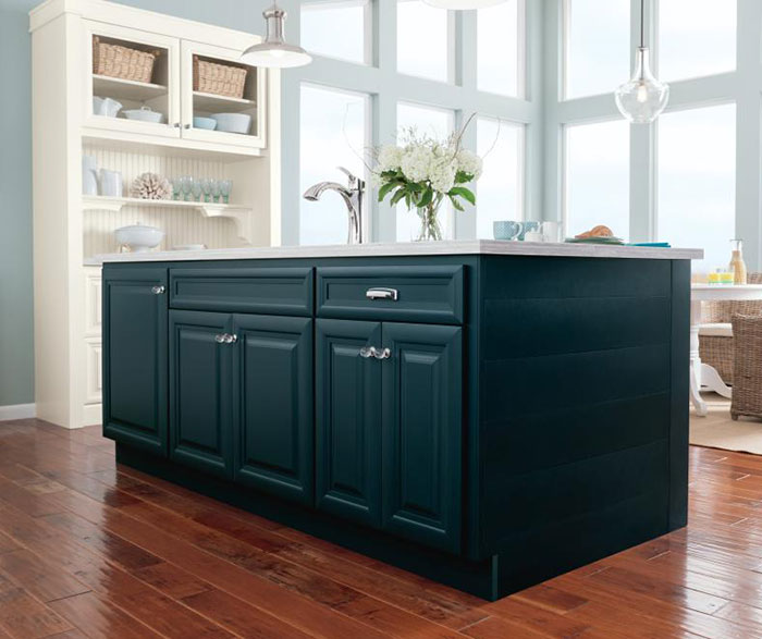 Cadet blue kitchen island