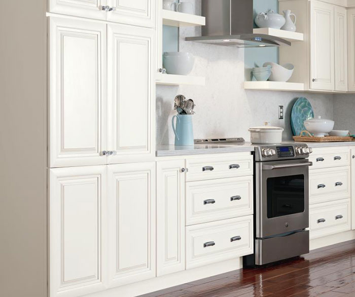Alpine white glazed cabinets