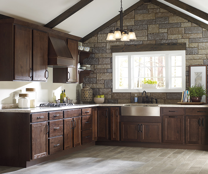 Rustic kitchen cabinets by Homecrest Cabinetry