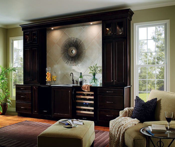 Home bar cabinets by Homecrest Cabinetry
