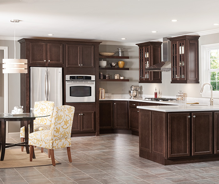 Laurel dark Cherry kitchen cabinets in Bison finish