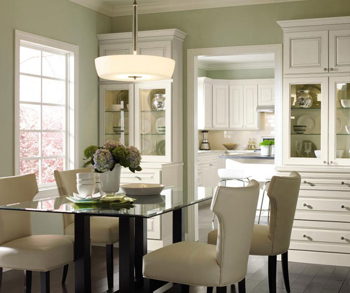 Dining room cabinets in painted Maple by Homecrest Cabinetry