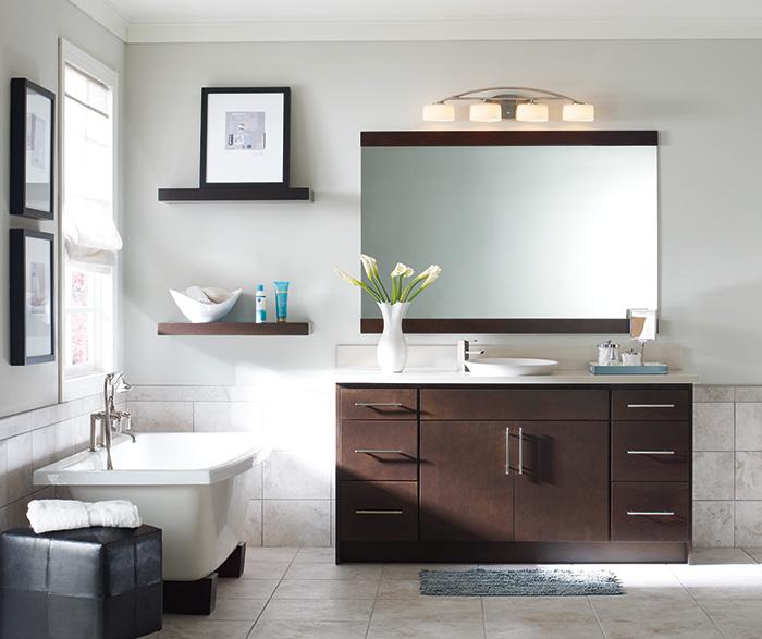 Contemporary bathroom vanity by Homecrest Cabinetry