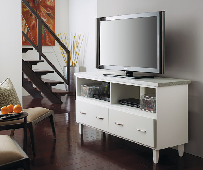 White media storage cabinet in an entertainment room