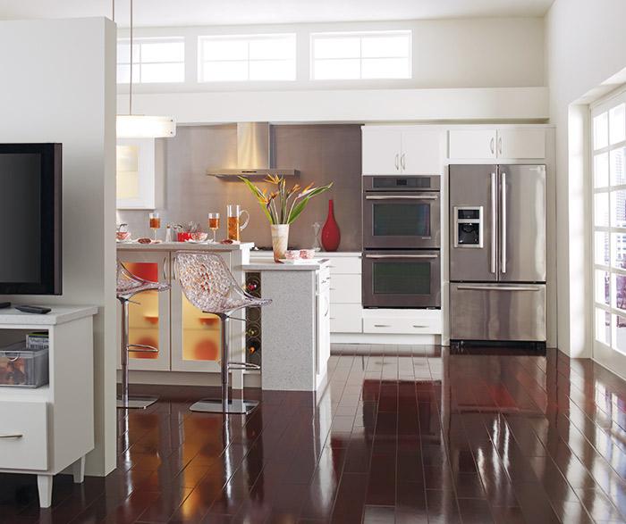White Rainier slab kitchen cabinets in Alpine opaque finish
