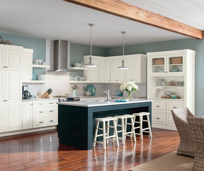Alpine white glazed cabinets with Cadet blue kitchen island